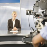 Newscaster in Television Studio